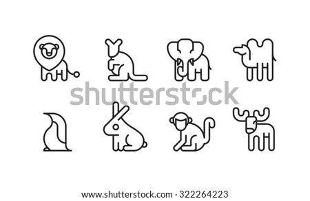 Animal Icon Symbol Zoo Set 1-8