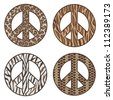 Animal Print Peace Symbols Vector collection of  Leopard, Tiger, Zebra and Snake. AI8 EPS File: Individual symbols are on separate layers and colors are grouped for easy editing. - stock