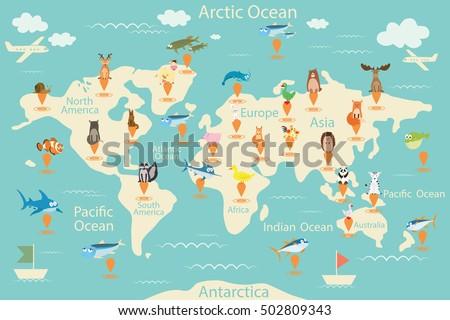 Animals World Map North America North Stock Vector - World map america