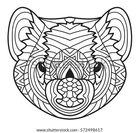 Animals Of Australia Tasmanian Devil Cute Line Drawing A Head