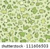 Animals Texture : seamless pattern for kids in green tones - stock vector