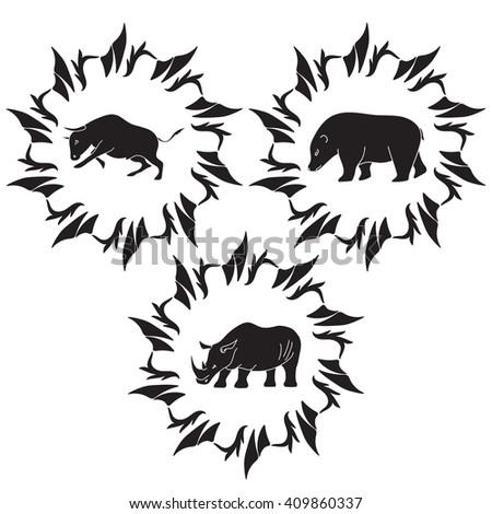 Animals vector silhouettes. Bear, rhinoceros, bull.