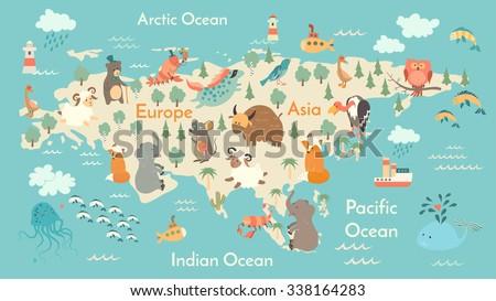 Animals world map eurasia vector illustration stock vector animals world map eurasia eurasia map for childrenkids eurasian animals poster gumiabroncs Gallery