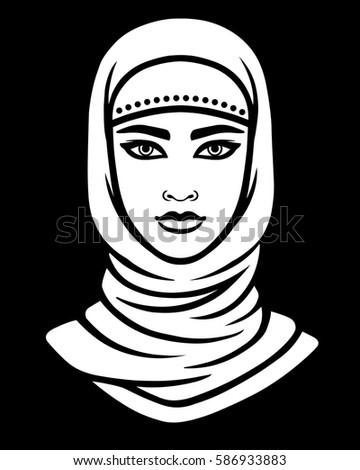 animation portrait arab woman scarf linear stock vector