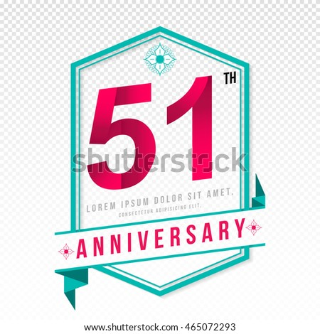 Anniversary emblems 51 anniversary template design