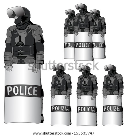 """Anti Riot police - vector set - the word """"police"""" comes in several"""