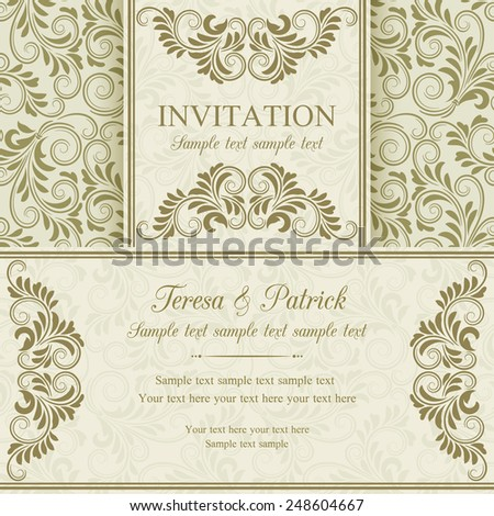 Antique baroque invitation, gold on beige background