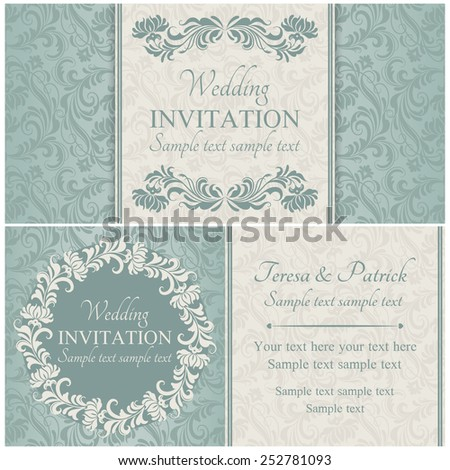 Antique baroque wedding invitation set, ornate floral round frame, beige and blue
