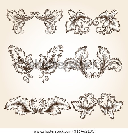 Ornamental design elements vector stock vector 8733655 for Baroque design elements