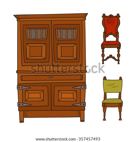 Antique Furniture Set: Closet And Chairs Isolated On A White Background.  Vector Drawing Lines