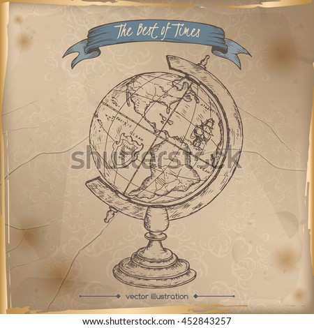 color antique globe hand drawn sketch stock vector 467204270 shutterstock. Black Bedroom Furniture Sets. Home Design Ideas