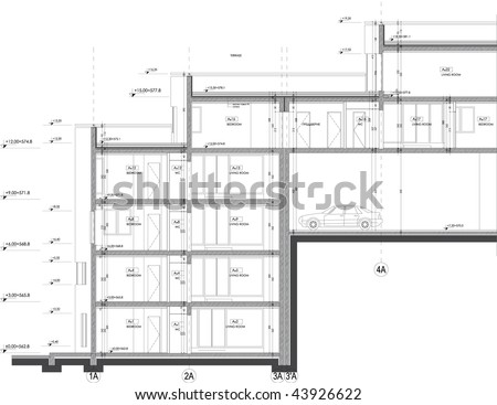 section drawing office apartment building stock vector 154587491