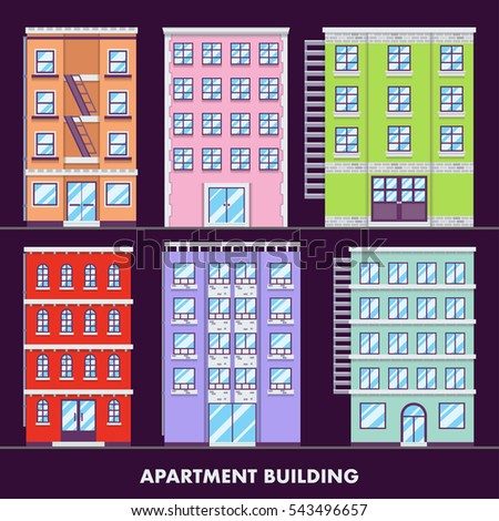Apartment building flat design minimalist and full color