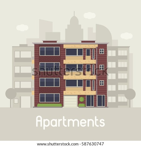 Apartment Building Illustration apartment building front view on urban stock vector 587630702