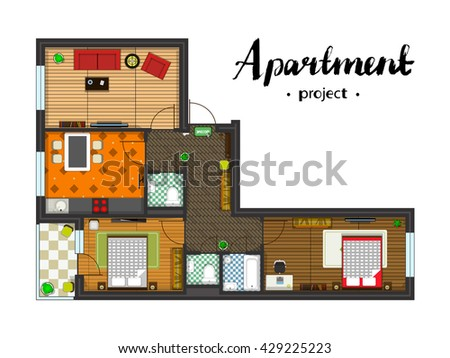 Architectural plan layout apartment furniture drawing - Architectural plan of two bedroom flat with dining room ...