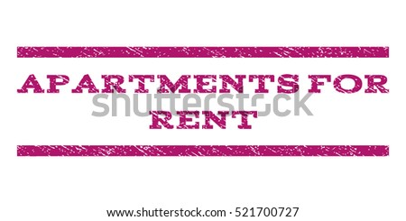 Apartments For Rent watermark stamp. Text tag between horizontal parallel lines with grunge design style. Rubber seal stamp with dust texture. Vector purple color ink imprint on a white background.