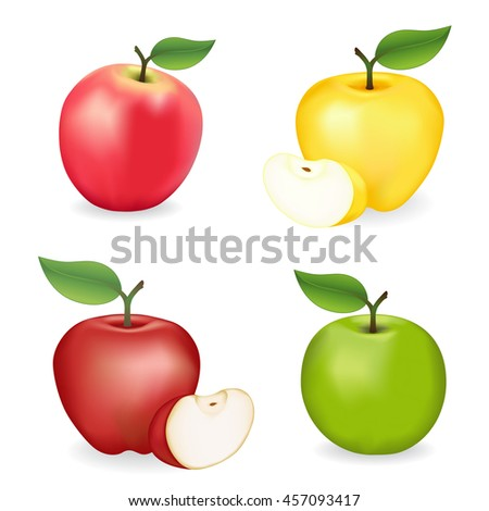 Apples, Pink Lady, Granny Smith, Red and Golden Delicious  varieties, fresh, natural, ripe, orchard garden fruit isolated on a white background.