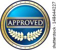 Approved Blue Award - stock vector