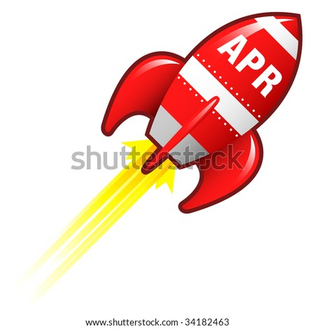 April month calendar icon on red retro rocket ship illustration good for use as a button, in print materials, or in advertisements.