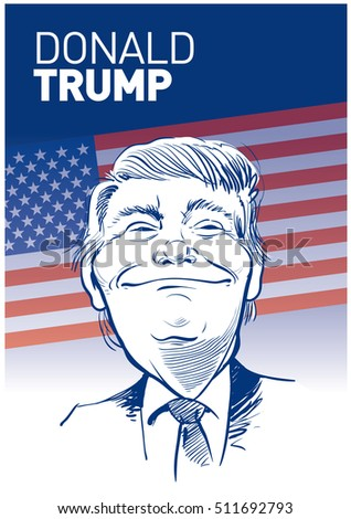 April 30, 2016: Portrait of Donald Trump. Vector illustration .eps10. Editorial use only