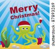 aquarium christmas with octopus, merry christmas. vector - stock vector