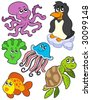 Aquatic animals collection 2 - vector illustration. - stock vector