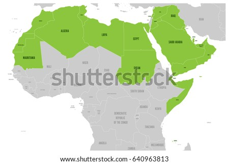 Arab World States Political Map Higlighted Stock Vector 626235971
