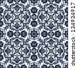 Arabesque seamless pattern in blue and white in editable vector file - stock vector