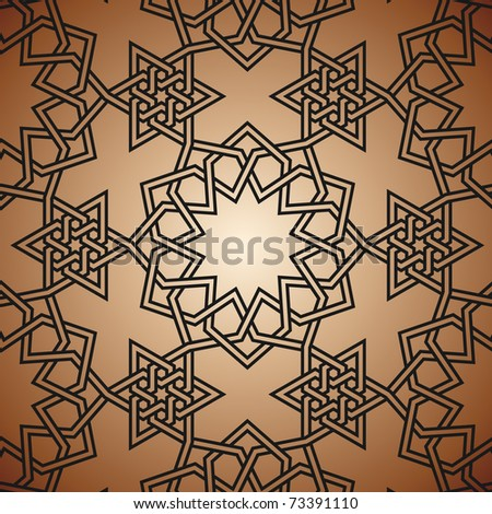 Arabic background with flowers and triamgles