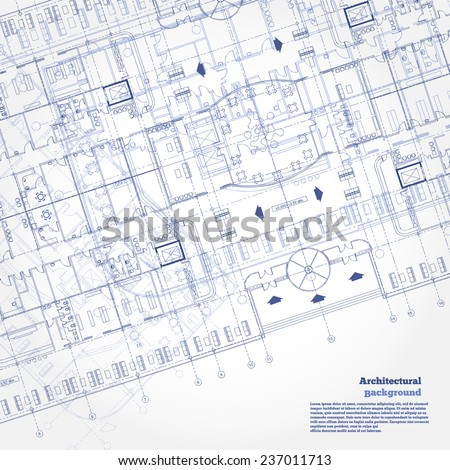 Architectural background. Gray building plan silhouette on white background. Vector illustration.