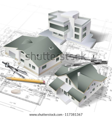 Template architectural design elements your business stock for Building project plan