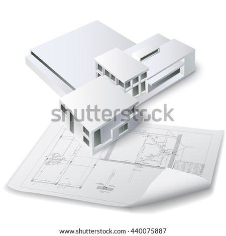 Architectural background with a 3D building model. Vector clip-art