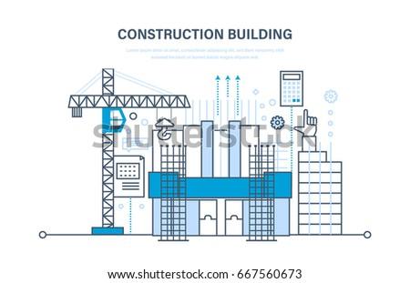 Flat design concept illustration infographic elements for New construction building process