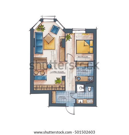 Architectural Color Floor Plan Bedrooms Apartment Stock
