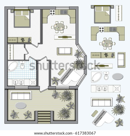Set top view interior icon design stock vector 593947313 for Floor plan furniture store
