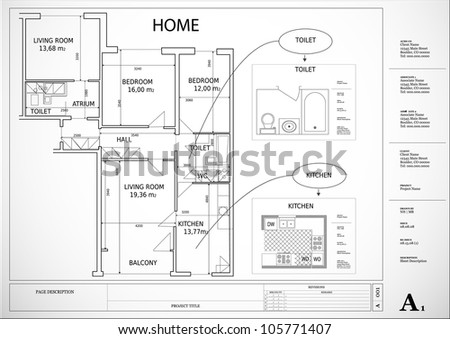 House Architecture Drawing architectural drawing house plan stock vector 105771407 - shutterstock