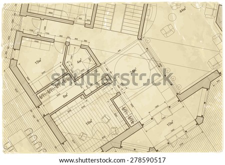 Architectural Drawing House Plan On Texture Stock Vector