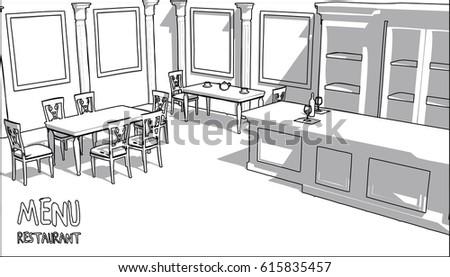 Architectural Drawing Vintage Restaurant Interior