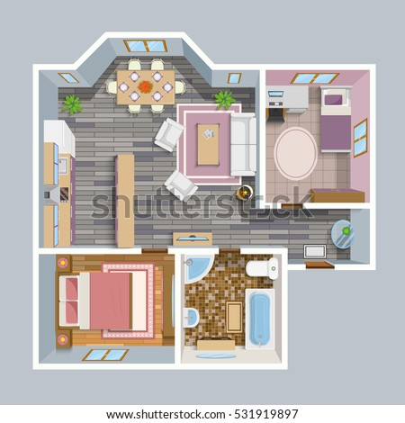 Architectural color floor plan bedrooms apartment stock for Meuble architectural