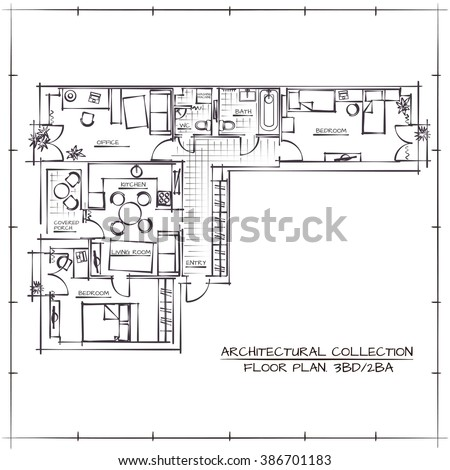 Black white floor plan house stock vector 245633587 for Apartment stock plans