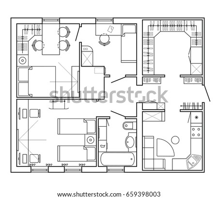 Black white architectural plan house layout stock vector for Floor plan furniture store