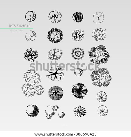 Landscape design element oak treetop symbol stock vector for Architectural design elements