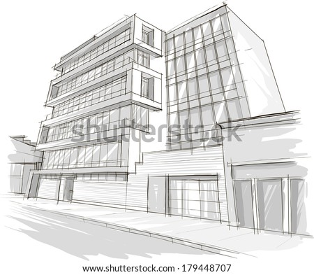 Perspective 3d render building wireframe stock for Cheap architectural drawings
