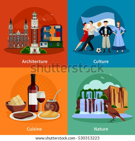 Travel concept germany landmark flat icons stock vector for Argentine cuisine culture