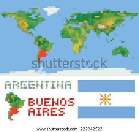 Argentina On World Map Border Shape Stock Vector - Argentina map shape