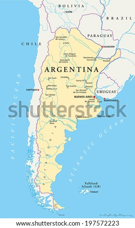 Argentina Political Map With Capital Buenos Aires National Borders Most Important Cities Rivers