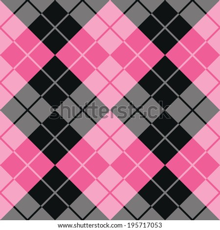 Argyle design in pink and black repeats seamlessly.