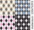Argyle pattern set - stock vector