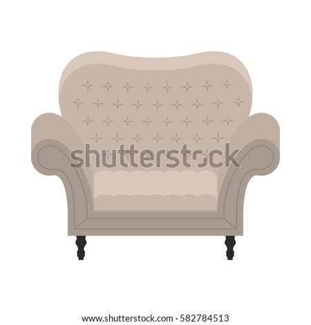 Comfort Vintage Beige Chair For Luxury Interior. Classic Retro Furniture