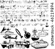 Army set of black sketch. Part 6. Isolated groups and layers. - stock photo